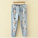 זול שרשראות-בגדי ריקוד נשים מידות גדולות כותנה ג'ינסים מכנסיים קפלים, אחיד