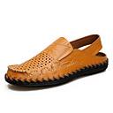 hesapli Erkek Sandaletleri-Erkek Ayakkabı Deri Yaz / İlkbahar yaz Günlük Sandaletler Günlük / Kumsal için Siyah / Sarı / Kahverengi