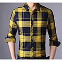 זול מגנים לטלפון & מגני מסך-משובץ צווארון רחב רזה חולצה - בגדי ריקוד גברים דפוס