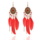 cheap Earrings-Women's Synthetic Tanzanite Tassel Drop Earrings - Resin Feather Tassel, Fashion White / Black / Red For Holiday Going out
