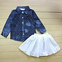 tanie Zestawy ubrań dla dziewczynek-Dzieci Dla dziewczynek Aktywny Groszki Długi rękaw Bawełna Komplet odzieży / Śłodkie