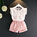 cheap Girls' Clothing Sets-Toddler Girls' Casual / Active Daily / Going out Floral Fairytale Theme / Stylish / Hollow Out Sleeveless Regular Regular Cotton Clothing Set White 2-3 Years(100cm)