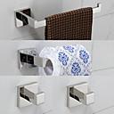 preiswerte Toilettenbürstenhalter-Bad Zubehör-Set Moderne Edelstahl 4pcs - Hotelbad Turm Bar Kleiderhaken Toilettenpapierhalter