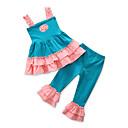 זול מכנסיים וטייץ לבנות-סט של בגדים כותנה פוליאסטר קיץ ללא שרוולים יומי ליציאה טלאים סרוג בנות יום יומי פעיל פול