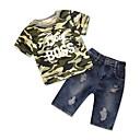 זול שמלות לבנות-סט של בגדים כותנה פוליאסטר קיץ שרוולים קצרים יומי ליציאה גיאומטרי דפוס בנים פשוט יום יומי ירוק צבא