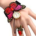 preiswerte Armband Uhr-JUBAOLI Damen Uhr Armbanduhren für den Alltag Quartz Stoff Rot Armbanduhren für den Alltag Punk Analog damas Blume Rot