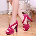 baratos Sandálias Femininas-Mulheres Sapatos Pele Nobuck Primavera / Verão Conforto / Inovador Sandálias Salto Robusto Peep Toe Presilha Preto / Fúcsia / Amêndoa