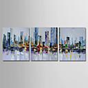 billige Innrammet kunst-Hang malte oljemaleri Håndmalte - Abstrakt Moderne Inkluder indre ramme / Tre Paneler / Stretched Canvas