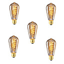 cheap Incandescent Bulbs-5pcs 40W E26 / E27 ST64 Warm White 2300k Retro Dimmable Decorative Incandescent Vintage Edison Light Bulb 220-240V