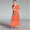 זול סטים של ביגוד לבנים-מידי רקום, פרחוני - שמלה משוחרר וינטאג' בגדי ריקוד נשים