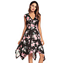 cheap Totes-Women's Swing Dress - Floral, Criss-Cross High Waist Asymmetrical V Neck