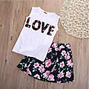 cheap Girls' Clothing Sets-Girls' Daily Going out Floral Patchwork Clothing Set, Cotton Polyester Spring Summer Sleeveless Cute Chinoiserie Black