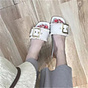baratos Sandálias Femininas-Mulheres Sapatos Couro Ecológico Verão Conforto Sandálias Caminhada Sem Salto Dedo Aberto Branco / Preto