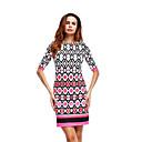 baratos Conjuntos de Bijuteria-Mulheres Bainha Vestido - Básico, Estampa Colorida Xadrez