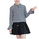 זול סטים של ביגוד לבנות-בנות פשוט / יום יומי כותנה מכנסיים - אחיד / פסים שיפון לבן