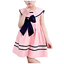 cheap Women-Kids Girls' Simple / Casual Daily / School Solid Colored / Striped Bow / Pleated Sleeveless Cotton Dress Blue