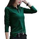 hesapli Köpek Giyimi-Kadın's Gömlek Yaka İnce - Tişört Solid Actif / Temel Büyük Bedenler