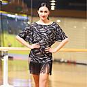 preiswerte Kleidung für Lateinamerikanischen Tanz-Latein-Tanz Kleider Damen Leistung Elasthan Quaste Horizontal gerüscht Halbe Ärmel Kleid