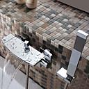 baratos Artigos de Forno-Torneira de Banheira - Moderna Cromado Banheira e Chuveiro Válvula Cerâmica