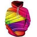 cheap Men's Bracelets-Men's Long Sleeve Slim Hoodie - 3D / Rainbow Hooded Fuchsia S / Fall / Winter