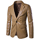 cheap Kitchen Appliances-Men's Leather Jacket - Solid Colored Shirt Collar / Long Sleeve