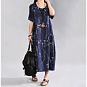 זול כיסויים גיאומטריים-מידי דפוס, פרחוני - שמלה נדן משוחרר כותנה בגדי ריקוד נשים