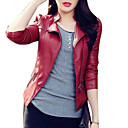 cheap 3D Duvet Covers-Women's Basic Street chic Leather Jacket-Solid Colored