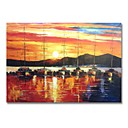 ieftine Picturi în Ulei-stildecor® pictat manual o barcă cu pânze în pictura de ulei la apus de soare pe pânză pentru arta de perete gata să închidă arta