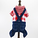 cheap Dog Clothes-Dogs Cats Pets Jumpsuit Dog Clothes Plaid / Check Jeans British Red Blue Cotton / Polyester Jeans Costume For Pets Male Cowboy Fashion