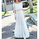 cheap Wedding Wraps-Women's Loose Dress - Solid Colored White High Rise Maxi Boat Neck