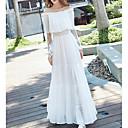 preiswerte Kostüme für Erwachsene-Damen Lose Kleid Solide Maxi Bateau Weiß