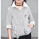 זול חולצות לבנות-חולצה כותנה שרוול ארוך פסים פעיל בנות ילדים