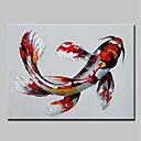 hesapli Hayvan Resimleri-Hang-Boyalı Yağlıboya Resim El-Boyalı - Soyut Karton Modern Iç çerçeve dahil / Gerilmiş kanvas