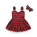 tanie Sukienki dla dziewczynek-Brzdąc Dla dziewczynek Codzienny Kratka Bez rękawów Bawełna / Poliester Sukienka Czerwony 100 / Śłodkie