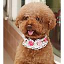 ieftine Zgardă Câine & Lese-Câini Pisici Gulere Dimensiune Ajustabilă Pliabil Respirabil Decorațiuni Plasă Flori PU piele Alb Roz