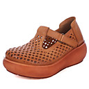 povoljno Ženske sandale-Žene Cipele Koža Proljeće / Jesen Udobne cipele Sandale Creepersice Tamno smeđa / Žutomrk