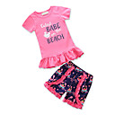 cheap Girls' Clothing Sets-Toddler Girls' Active Daily / Going out Geometric / Print / Patchwork Cut Out / Ruched / Tassel Short Sleeve Regular Regular Cotton / Polyester Clothing Set Black 2-3 Years(100cm) / Cute