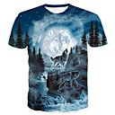 cheap Car DVD Players-Men's Club Skull / Basic Plus Size T-shirt - Animal Wolf, Print Round Neck / Short Sleeve