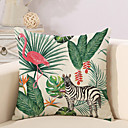 cheap Pillow Covers-1 pcs Cotton / Linen Pillow Cover / Novelty Pillow / Pillow Case, Botanical / Flamingo / Animal Tropical / New Arrival