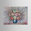 tanie Obrazy olejne-Hang-Malowane obraz olejny Ręcznie malowane - Abstrakcja / Martwa natura Nowoczesny Brezentowy / Zwijane płótno