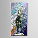 tanie Obrazy olejne-Hang-Malowane obraz olejny Ręcznie malowane - Martwa natura Nowoczesny Brezentowy / Zwijane płótno