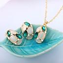 זול סטים של תכשיטים-בגדי ריקוד נשים קריסטל סט תכשיטים - לשם מתוק, אופנתי לִכלוֹל אדום ורד / ירוק עבור חתונה / מסיבת ערב