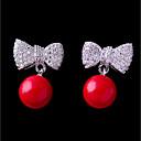 זול שרשרת אופנתית-בגדי ריקוד נשים זירקונה מעוקבת עגילי טיפה - כדור, פפיון אסייתי אדום עבור חתונה מסיבה\אירוע ערב