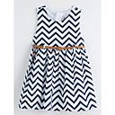 preiswerte Kleider für Mädchen-Mädchen Kleid Alltag Gestreift Sommer Ärmellos Niedlich Grundlegend Weiß
