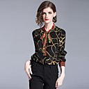 זול סט תכשיטים-גיאומטרי צווארון V סגנון רחוב עבודה חולצה - בגדי ריקוד נשים דפוס