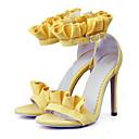 baratos Sandálias Femininas-Mulheres Sapatos Pele Nobuck Primavera / Verão Conforto / Inovador Sandálias Salto Agulha Dedo Aberto Presilha Laranja / Amarelo / Rosa