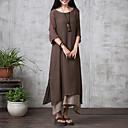 זול חפצים דקורטיביים-מקסי אחיד - שמלה משוחרר סגנון סיני בגדי ריקוד נשים / קיץ