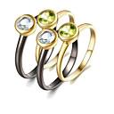 baratos Anéis-Mulheres Peridoto Conjunto de anéis - Banhado a Ouro 18K, S925 Sterling Silver Europeu, Fashion 6 / 7 / 8 Arco-íris Para Presente / Diário