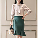 cheap Concealers & Contours-Women's Plus Size Basic Shirt - Solid Colored Skirt Shirt Collar / Spring / Ruffle