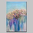 זול ציורי פרחים/צמחייה-ציור שמן צבוע-Hang מצויר ביד - מופשט / פרחוני / בוטני מודרני כלול מסגרת פנימית / בד מתוח